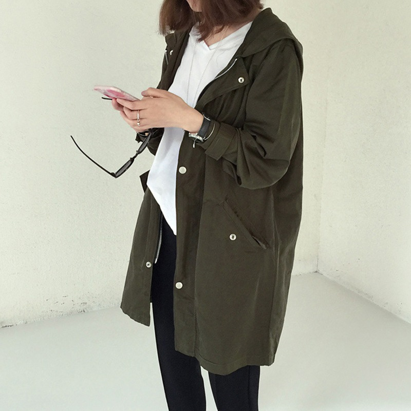 Spring Autumn   Trench   Coat Women Causal Long Sleeve With Hood Female Long Coat