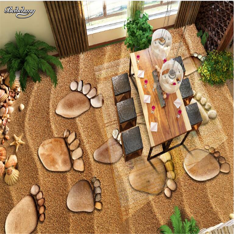 beibehang Custom large-scale murals 3D beach pebbles footprints 3D floor tiles thickening waterproof pvc wear-resistant film made in the a m cd