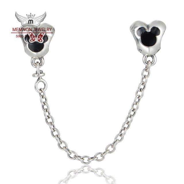 Encantos de la joyería fina 925 joyas de Plata Del Corazón de Mickey y Minnie encanto de La Cadena de Seguridad fit marca pulseras DIY SF205