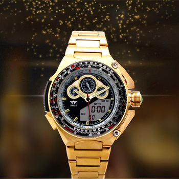 "2020 Special Offer Multi-functional Waterproof Double Show Golden Fashion Hot Style Wholesale Business Man Wrist Watch. ""3010"