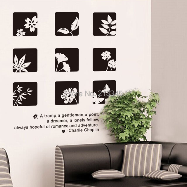 saturday monopoly black white chinese style floral wall stickers home decor decals art diy - White Wall Decor