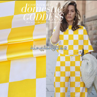 Designers 93 Natural Mulberry Silk 7 Spandex Stretch Satin Clothing Fabric Yellow White Checkerboard Cheongsam Dresses
