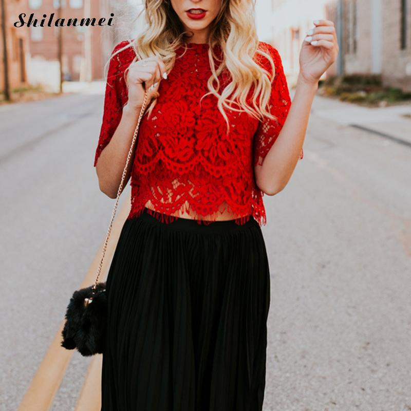Sexy Hollow Out White Lace   Blouse     Shirt   Women Elegant Slim Summer   Blouses   Female 2018 Casual Half Sleeve Women Tops Blusa Mujer