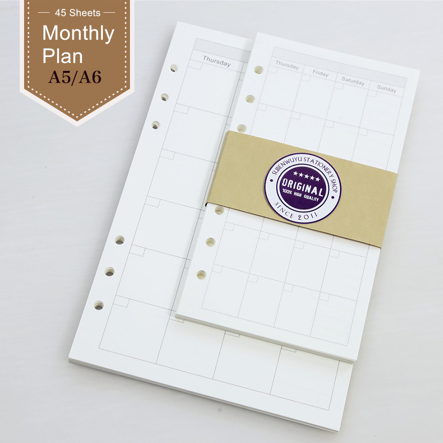 Loose Leaf Notebook Pages Of Filofax A5 A6 Monthly Plan Core Notebook Planner Filofax Diary Travelers Notebook Filler Papers