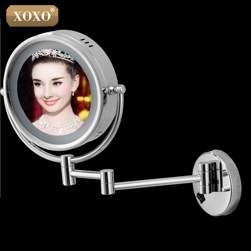 XOXOWall Mounted Round 3x / 1x Magnifying Bathroom Mirror LED Makeup Cosmetic Mirror lady's private mirror 1117 free shipping 9wall mounted round 3x 1x magnifying bathroom mirror led makeup cosmetic mirror lady s private mirror bm003