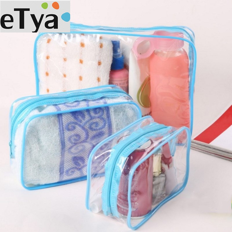 ETya PVC Waterproof Women Cosmetic Bags & Cases Large Capacity Transparent Female Makeup Case Travel Accessories Beauty HandBags