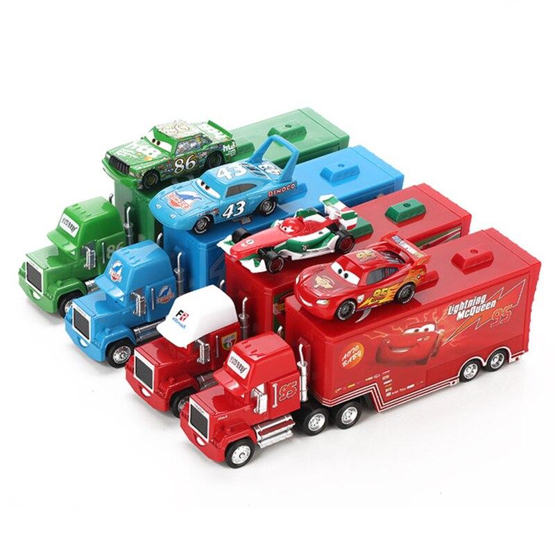 Diecast Liga de Metal Modle brinquedos 2 pcs Relâmpago FiguresKids oyuncak Brinquedo Caminhão Transportador de Menino Educacional