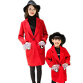 2017 autumn winter matching mother daughter clothes long girls jackets mother daughter dresses clothes family look woolen coats