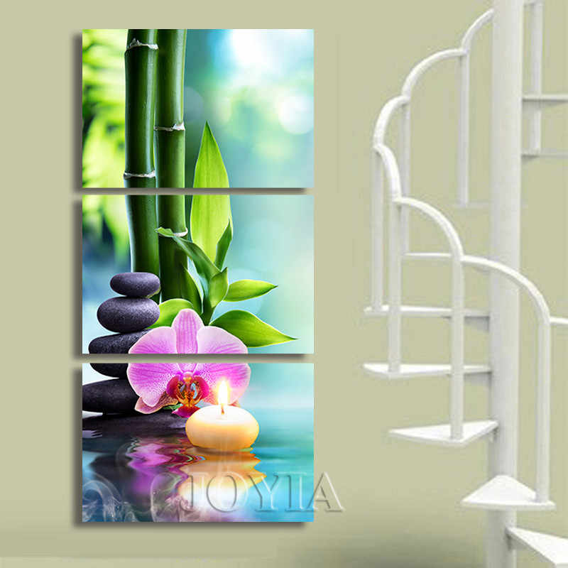 Triptych Canvas Art Green Bamboo Painting Beautiful Still Life Pictures Set For Home Interior Corridor Decor Prints No Frame