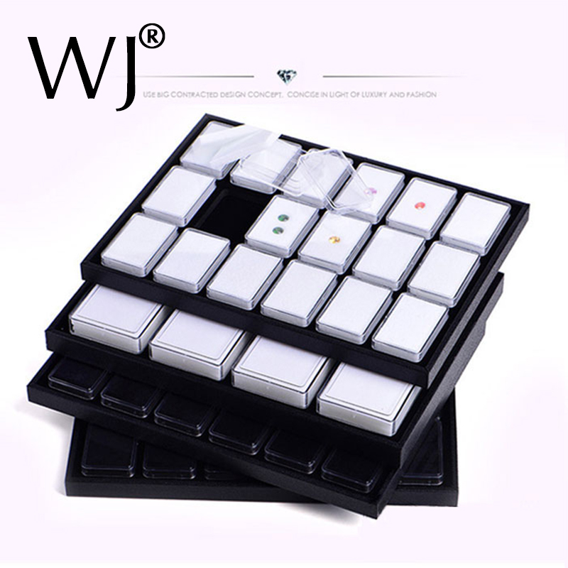 Novel Diamond Pendant Jewelry Display Case Gemstone Storage Box Coins Nuggets Holder Gem Jar Tray Velvet