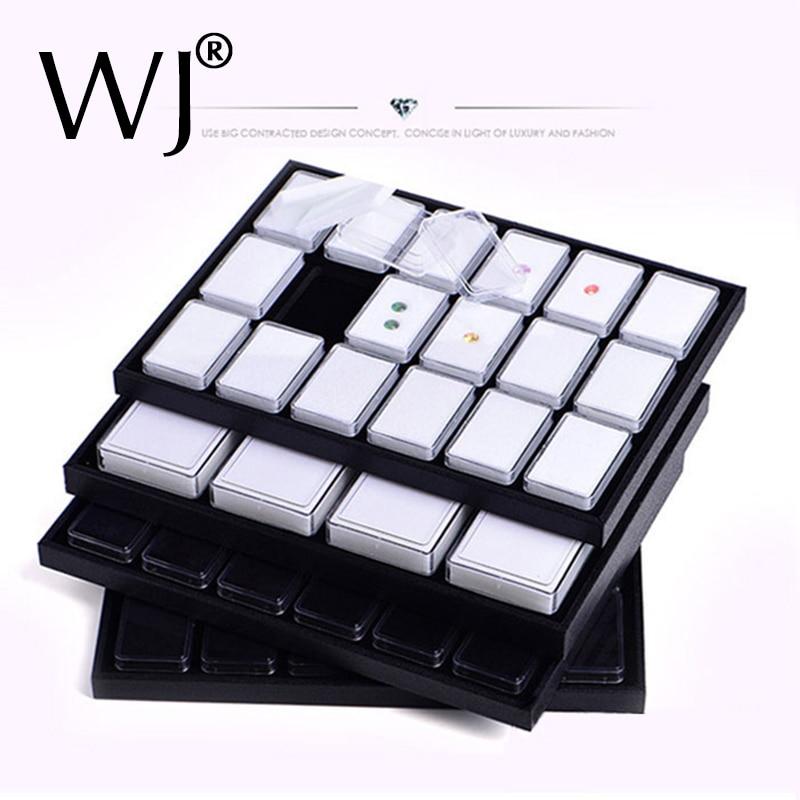 Novel Diamond Pendant Jewelry Display Case Gemstone Storage Box Coins Nuggets Holder Gem Jar Tray Velvet Insert Liner Rectangle