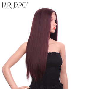 Hair Expo City 26inch Long Synthetic Straight Free Part Lace Front Wig African American Synthetic Lace Wig For Women