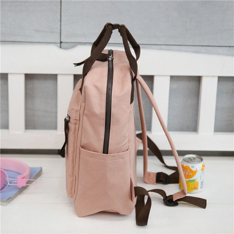 Plain Square Canvas Kanken Backpacks Female Japan Style College Women Travel Backpack Bag Top Handle Laptop Rucksack Girls 2019 #2