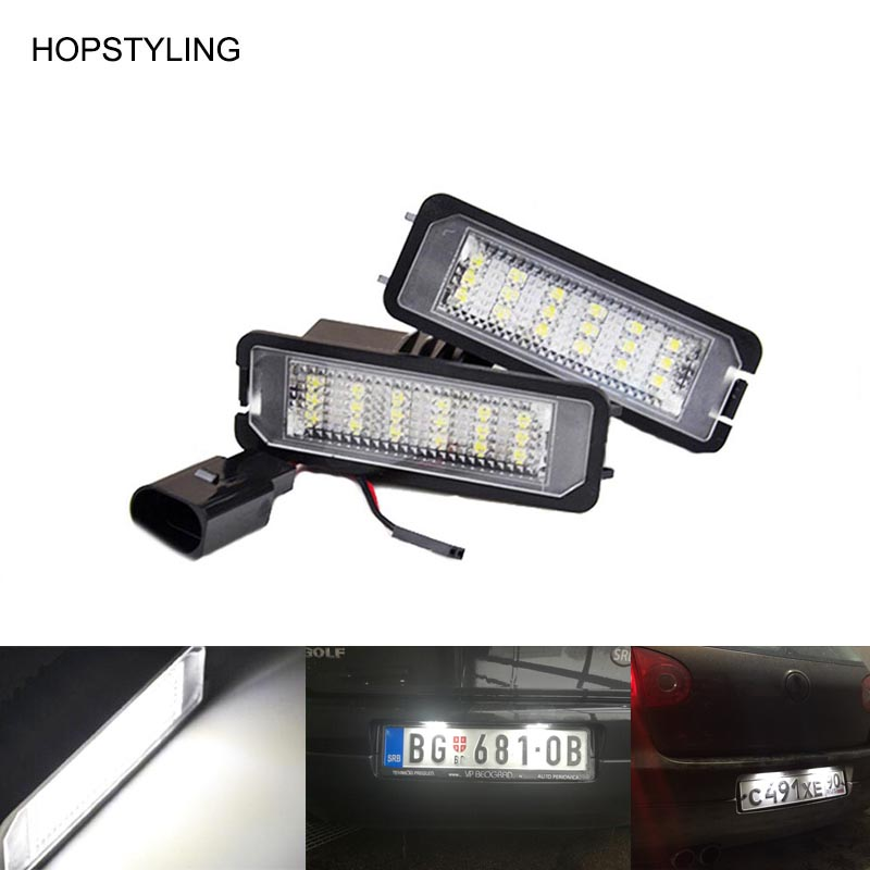 car styling 18SMD LED tail license plate light Canbus NO ERROR for Golf 4 5 6 7 LED rear plate lamp auto replacement accessory 18 smd 2x no error car styling led license plate light for kia ceed cerato forte auto rear number plate lamp replacement