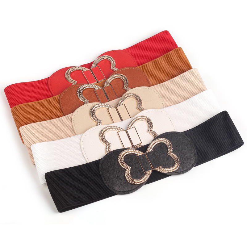 2019Fashion Bow Elastic Belt Decorative Elastic Black Waist Female Thin Skirt Windbreaker Down  Belt Wide Belt