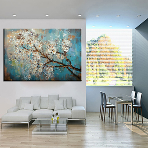 Image 4 - Mintura Hand Painted Flowers Tree Draw Morden Oil Painting On Canvas Pop Art Posters Wall Pictures For Live Room Home Decoration