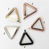 10pcs Triangle magnet floating locket pendant living glass floating charm locket pendant for women necklace
