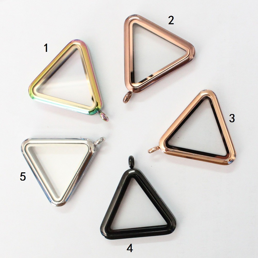10pcs Triangle magnet floating locket pendant living glass floating charm locket pendant for women necklace triangle fringed paillette pendant necklace