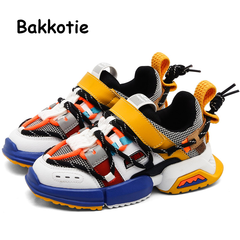 Bakkotie 2019 Kids New Sports Shoes Autumn Baby Girls Fashion Mixed Color Sneakers Boys Breathable Mesh Running Casual Shoes