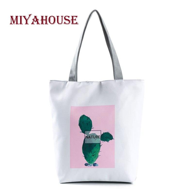 Miyahouse Fresh Style Women Canvas Casual Tote Bag Cactus Printing Beach Bag Female Portable Single Shoulder Shopping Bags tote bag