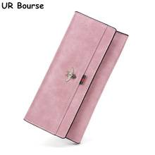 купить UR BOURSE Women Large Capacity Long Purse Ladies Leather Long Clutch Bag Female Retro Multi-card Handbag Card Holder Coin Purse по цене 866.9 рублей