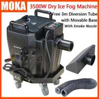 3500w Dry Ice Fog Machine stage effects Dry Ice Low Ground Smoke Machine Movable Base With Smoke Nozzle and Diversion Tube