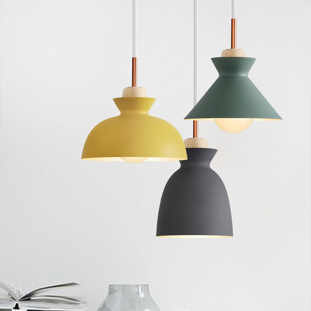 Nordic metal hanging lights e27 bulb modern simple cafe bar dining room bedroom pendant lamps kitchen