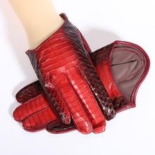 NEW 2019 Genuine Leather Women Gloves Female Spring Autumn Thin Style Snakeskin Pattern Half Palm Sheepskin 1319