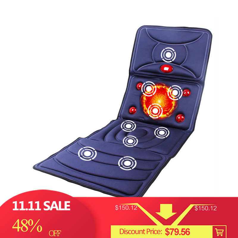 YihCare Far Infrared Electric Massage Mattress Heating Vibrating Full Body Neck Leg Massager Bed Cushion Chair Massage Mat Home far infrared multifunctional heating massage mattress neck waist full body vibration cushion massager electric massage cushions