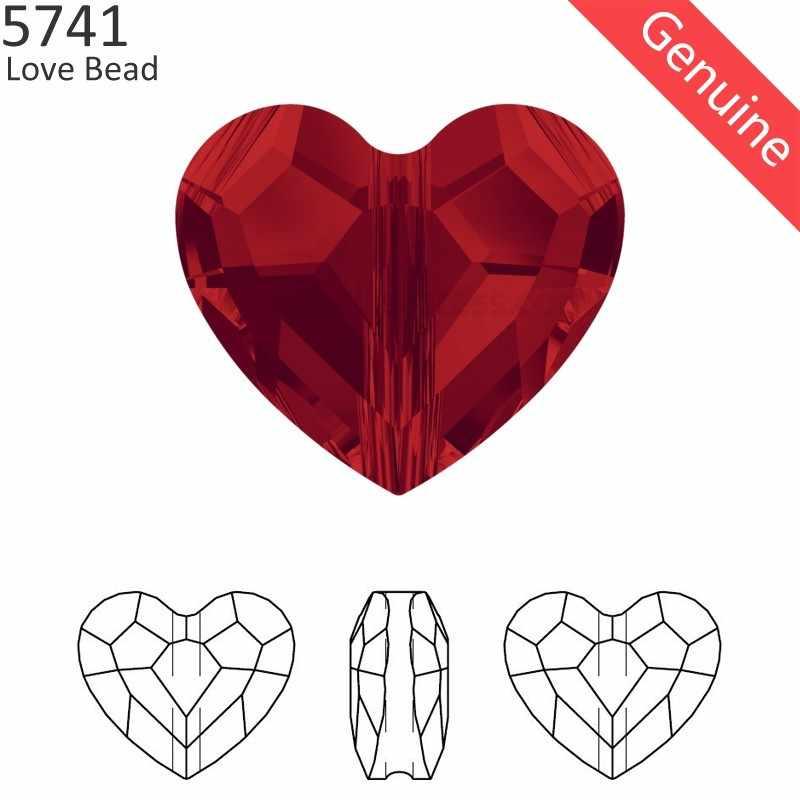 (1 piece) 100% Original Crystal from Swarovski 5741 vertical hole love bead from Austria loose rhinestone DIY jewelry making