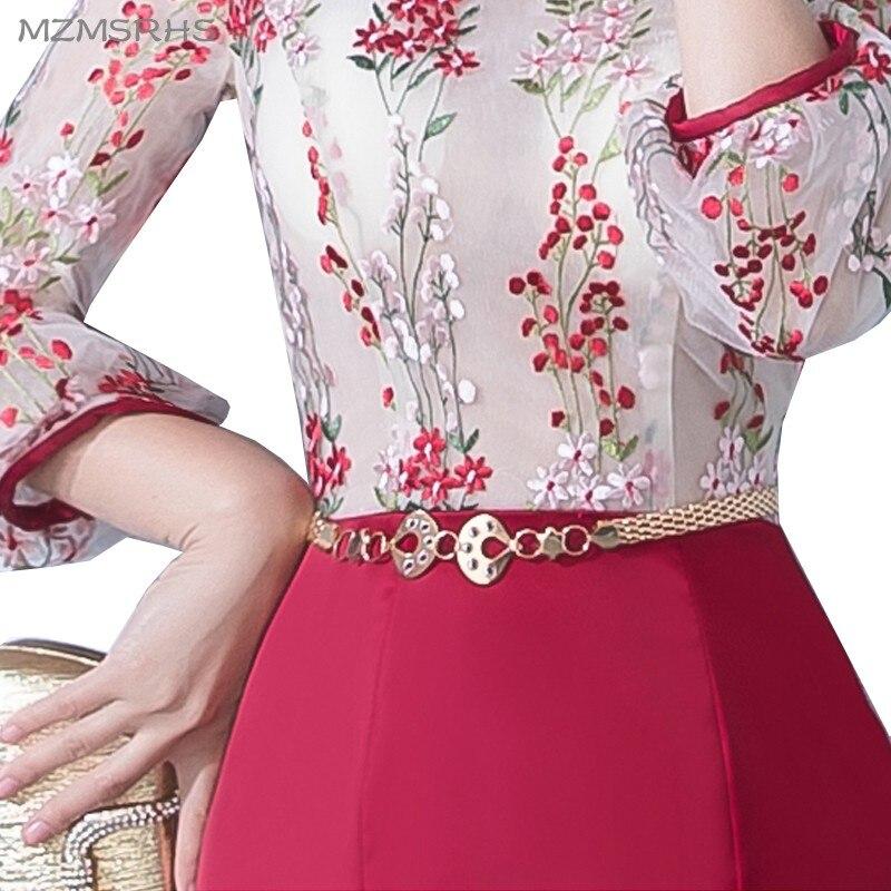 MZMSRHS Elegante 3/4 Ärmel Abendkleid Candy Farbe Spitze Kleider - Kleider für besondere Anlässe - Foto 6
