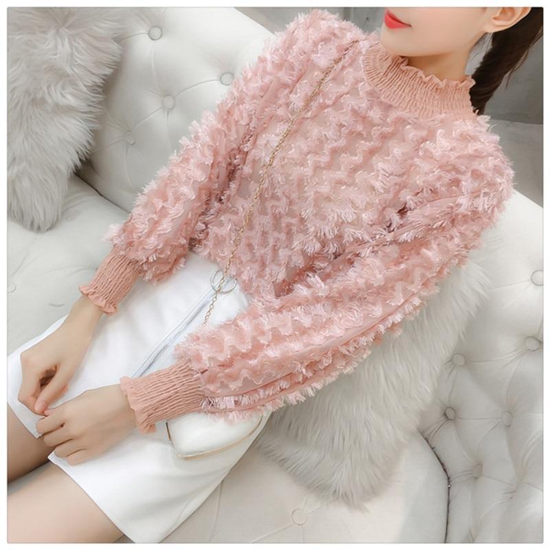 Women Fashion Turtleneck Shirts Long Sleeve Sweet Fur Tassel Chiffon Shirts White Pink Blouse Spring Female Super Fairy Tops