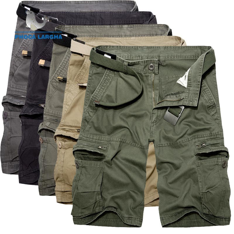 Men's Solid Color Casual Shorts Green Army Tactical Cargo Shorts Men Cotton Loose 2019 Summer New Short Pants Male(No Belt)