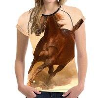 FORUDESIGNS Womens T Shirt 3D Horse Printing Harajuku Style T Shirt Tops Tee Shirt For Summer