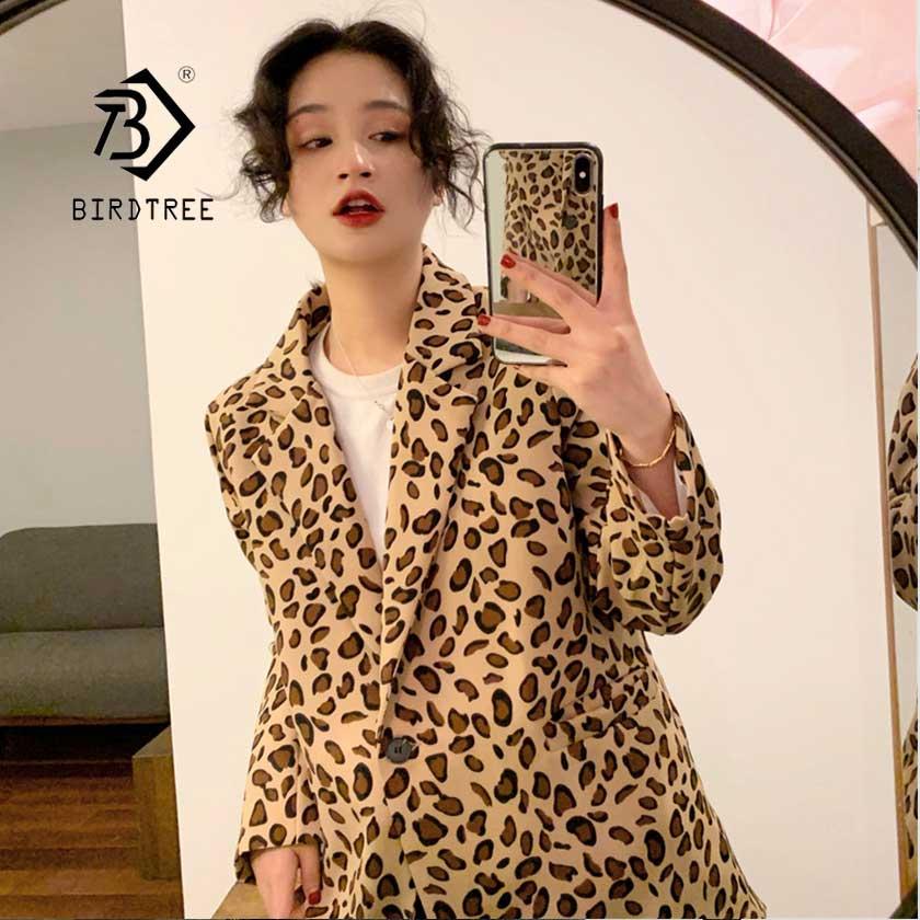2019 Women's Print Leopard Loose Blazer Full Sleeve Top Jacket Single Button Notched Femme High Street Coat Hot Sales C96205Z