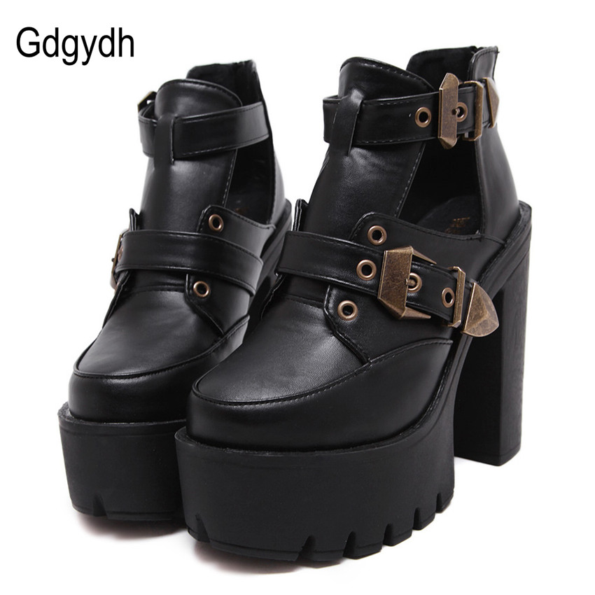 ФОТО Gdgydh Spring Autumn Women Pumps Round Toe Platform Thick High Heels Women Shoes Casual Cut-outs Fashion Buckle Sexy Ankle Boots