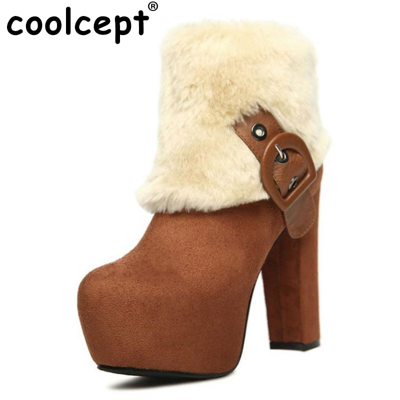 Coolcept Women Mid Calf Platform Boots Thick Fur Buckle High Heel Boots Thick Fur Shoes Winter Botas Women Footwears Size 35-39 zippers double buckle platform mid calf boots