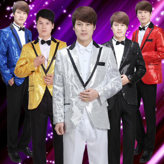 Free Shipping!the New 2015 Men Sequins Stage Costumes High-end Men's Evening Dress Singer Suit Jacket The Magician Dress