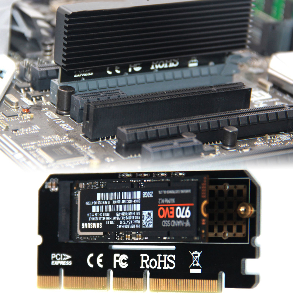 Expansion Card Network Full Speed Led M Key Adapter PCI Express Support Interface Computer M.2 NVMe SSD NGFF To PCIE 3.0 X16