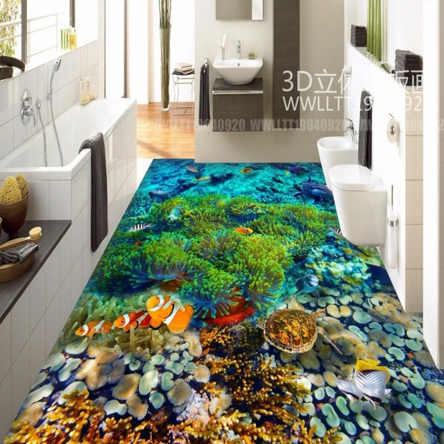 free shipping underwater world tropical fish 3d floor tiles wear non slip waterproof restaurant lobby - Underwater World Restaurant