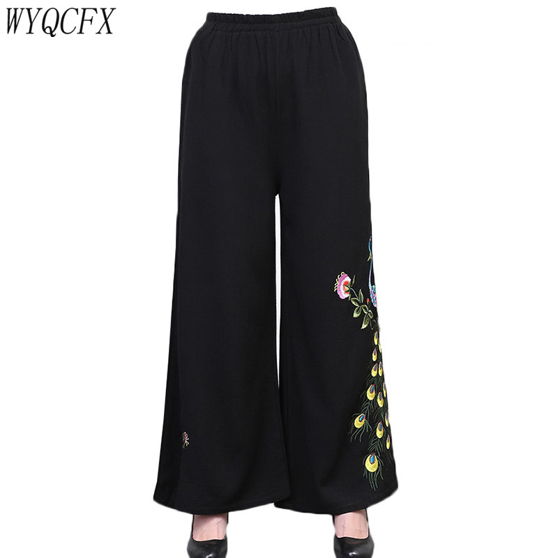 Women Summer   Wide     Leg     Pants   Casual Loose High Elastic Waist Linen   Pants   Chinese Style Vintage Embroidery Trousers Plus Size 4XL