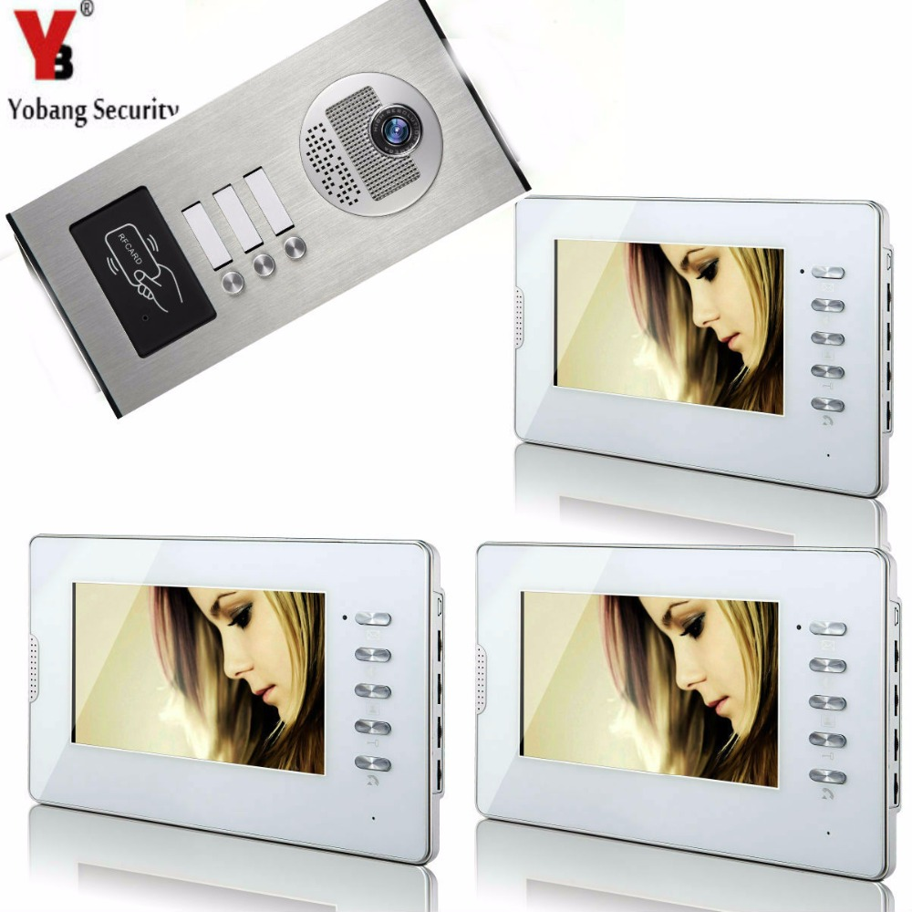 Yobang Security 7 Video Intercom Door Phone 3 White Monitors Doorbell Camera for 3 Family Apartment + RFID Access System 1v3 doorbell camera 2 4ghz video wireless videocitofono video door phone with 3 indoor monitors for door access security
