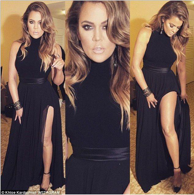 2017 Y New Arrival Inspired Khloe Kardashian Celebrity Red Carpet Evening Dress Black High Side