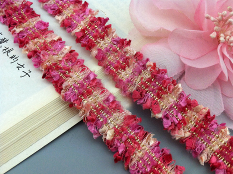 2cm Gorgeous magenta and gold fringe lac trim for designing sewing 1 metre