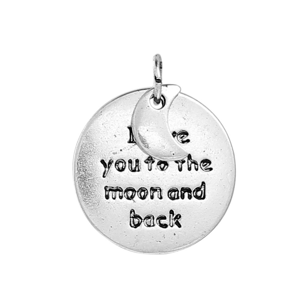 DoreenBeads Zinc Based Alloy Antique Silver Charms Round & Half Moon Message Carved DIY Jewelry Components 17mm Dia, 10 PCs