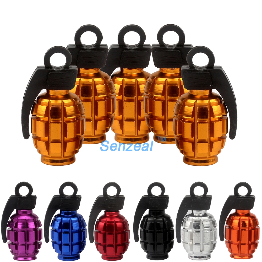5x Aluminum Grenade Bomb Style Auto Car Truck Wheel Tire Valve Caps Bicycle Tyre Air Valve Stem Cover for Motorcycle 9 Color