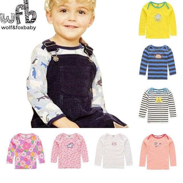 Розничная 5 шт./упак. 0-24месяцев с длинными Рукавами футболки Детские Младенческой мультфильм новорожденных одежда для мальчиков девочек милый Clothing весной осень