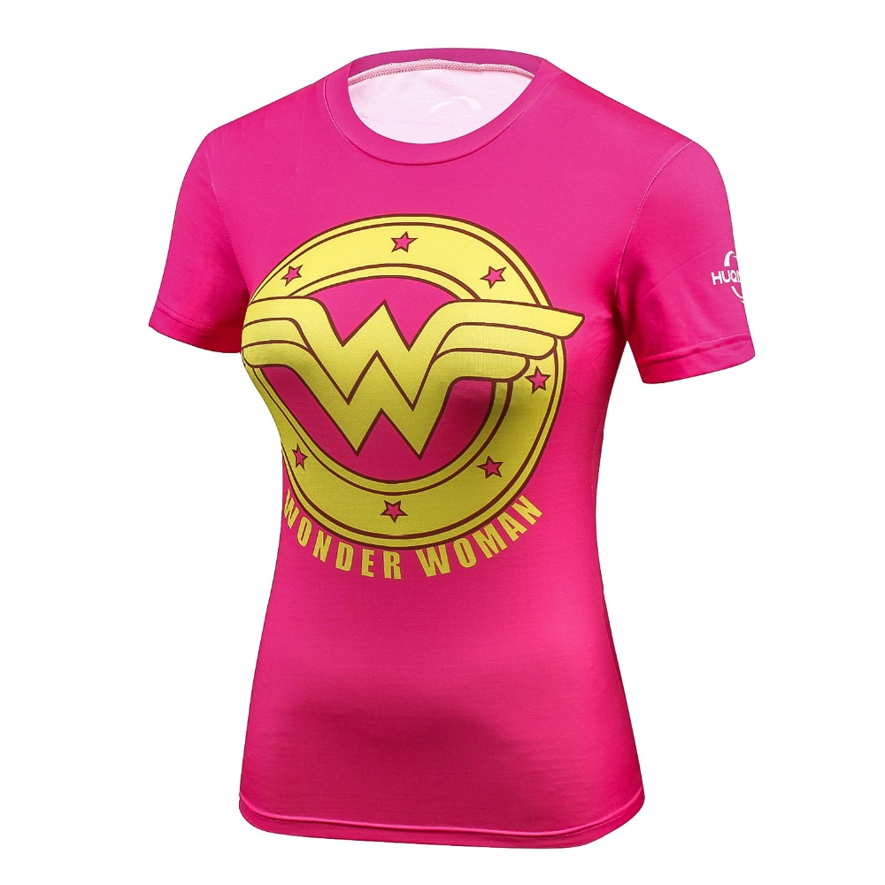 Ladies DC Comics Marvel Superman Batman/ Wonder Women's Fitness joger T Shirt Girls Bodybuilding Compression Tights Tee Tops image