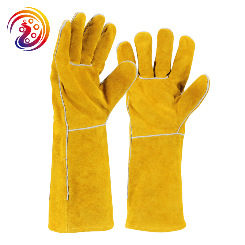 цена на OLSON DEEPAK Cow Split Long Welders Gloves Roasting Heat Resistant Factory Gardening Protective Yellow Work Glove HY036
