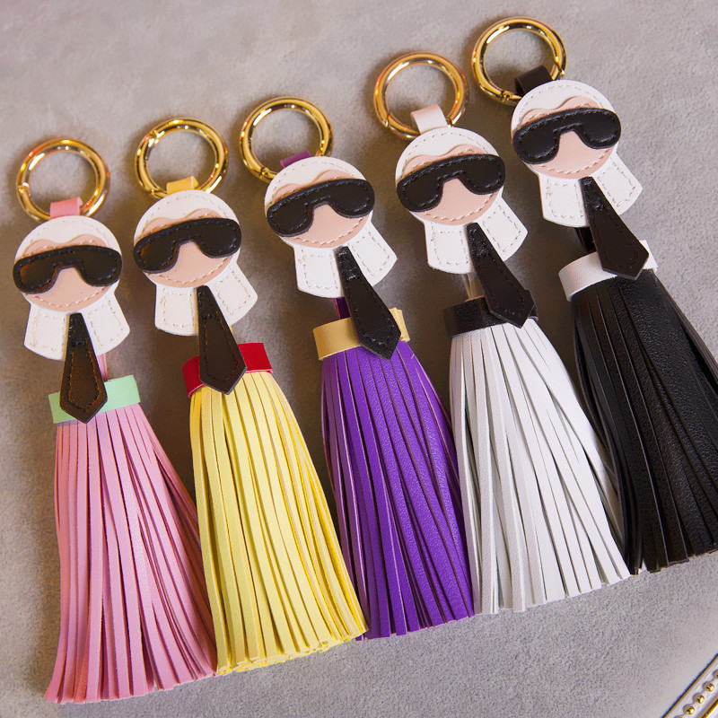 Luxury Karl Face Little Monsters Leather Tassel Keychain Key Ring Women Car Bag Charms Key Holder Accessories Pendant Jewelry keychain holder key ring with vine bottle pendant 3pcs